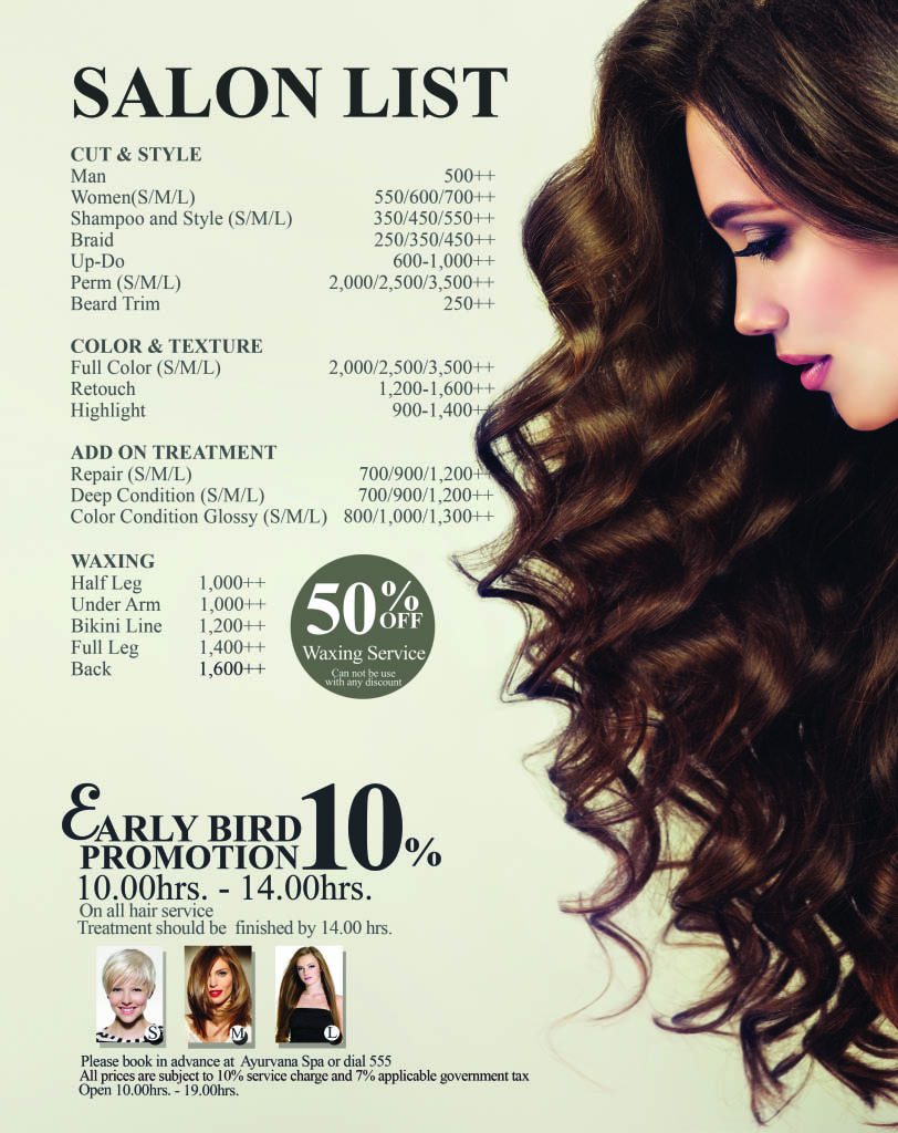 Salon menu-website